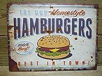 アメリカン ブリキ看板 ハンバーガー/ティンサインボード/メタルサインボード 看板