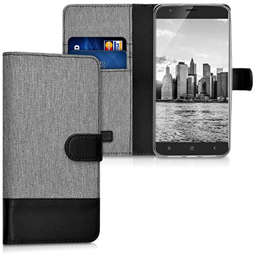 kwmobile Blackview E7 / E7s Hülle - Kunstleder Wallet Case für Blackview E7 / E7s mit Kartenfächern & Stand - Grau Schwarz