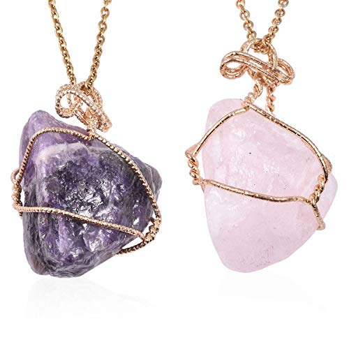 Shop LC Delivering Joy Amethyst and Galilea Rose Quartz Pendant with Goldtone Necklace 24' Set of 2