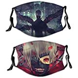 Tokyo Ghoul Reusable Face Mask with Filter Dust Washable Adjustable Earloop Face Cover Warm Windproof 2 pcs