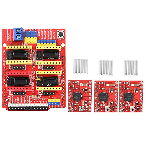 Escudo CNC, Placa De Expansión De Grabador Arduino Uno V3 De Impresora 3D + Módulo De Controlador A4988 De 4 Piezas Para Kits Arduino