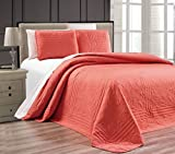 3-Piece Coral Oversize Stella Grande Bedspread King/Cal King Embossed Coverlet Set 118 by 106-Inch