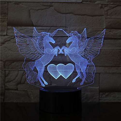 Nndxh Dos Unicornio3D LedLuz Nocturna Interruptor Táctil Lámpara De Mesa Ilusión7Color Decoración Niños Dormitorio Fiesta Juguete Regalo
