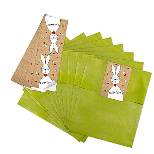 25 kleine grüne Papiertüten Ostertüten Geschenktüten 13 x 18 cm + 25 Banderolen Osteraufkleber 5 x 15 cm Ostern Osterhase rot weiß Herz Verpackung Aufkleber Frohe Ostern zum Befüllen