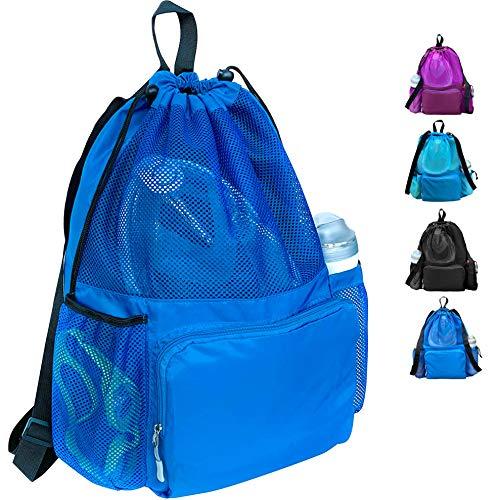 ButterFox Große Schwimmausrüstung Netztasche mit Kordelzug Schwimmrucksack mit separatem, wasserfestem Trockenfach, trocken und nass getrennt, blau