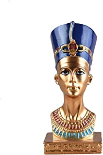 Statues and Sculptures Outdoor Decor for Garden,Miniature Vintage Ancient Egyptian Pharaoh Figurine Hand Painted Resin Cra...