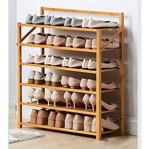 6 Nivel Bambú Zapatero,Plegable Portátil Estante De Almacenamiento De Rack De Zapatos,Gabinete De Estantes De Zapatos De Pie Libre Para Entryway Pasillo Dormitorio-Colores primarios 70x23.8x90cm(28x9x