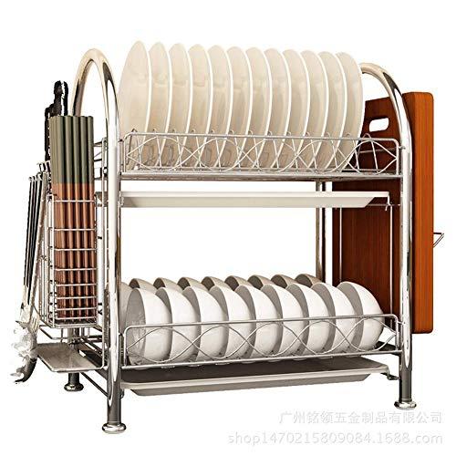lquide Estante para Platos Escurridor Armario De Refrigeración De 2 Niveles Almacenamiento con Mesa De Comedor/Cuchillo/Soporte para Tabla De Cortar Estante para Platos