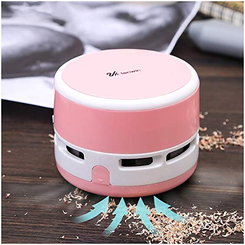 Handheld Wireless Vacuum Cleaner, Small Dust-free Bag Cleaner, Used to Clean Computer Keyboard and Piano Keys, Fans, Desktop (Color : Pink)