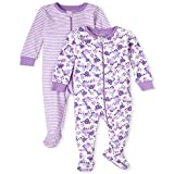 The Children's Place Baby and Toddler Girls Floral Snug Fit Cotton One Piece Pajamas 2-Pack, White, 9-12MOS