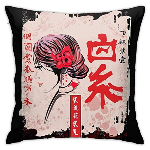 xiancheng Japanische Kawaii Geisha Mädchen in Kimono Japan Art Vintage Tee Indoor Kreative Dekorationen für Schlafsofa Square Pilloase