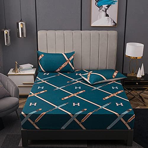 Nuoxuan Cajón para Colchón Extra Alto,Hoja de Cama de Tres Piezas de Seda con Hielo, Dormitorio de apartamento Individual Doble tamaño King-Azul 2_200 * 220cm (3pcs)