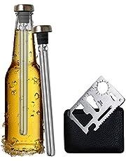 Original Regalo 2 Enfriadores de Botella Cerveza y Abridor Multifunción - Accesorio Utensilio Acero Inoxidable, Idea Aniversario Cumpleaños Padre Hombre Papa Hermano Amigo Divertido Frikis Especiales