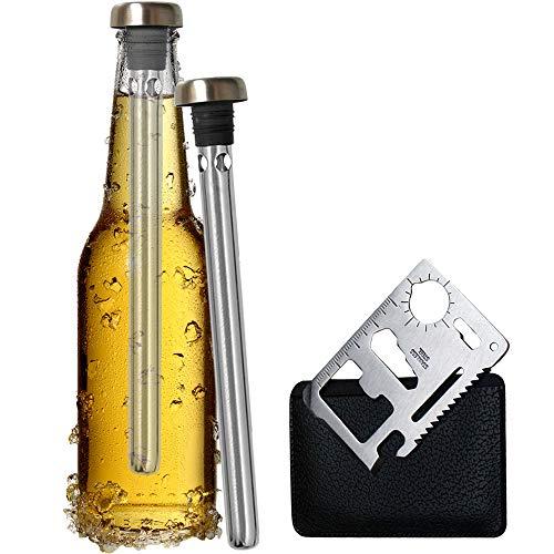 Original Regalo 2 Enfriadores de Botella Cerveza y Abridor Multifunción - Accesorio Utensilio Acero Inoxidable, Idea Día del Padre San Patrick Hombre Papa Hermano Amigo Divertido Frikis Especiales