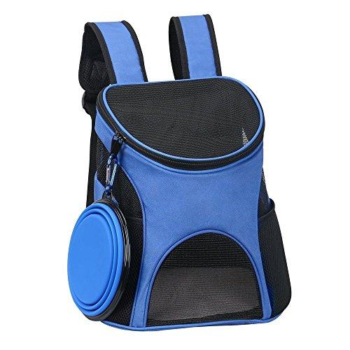 Ewolee Portador para Mascotas Perros Gatos Pequeos 4kg, Mochila para Llevar Perros, Bolso de Transporte para Animales al Aire Libre con Cuenco Plegable Silicona - Azul