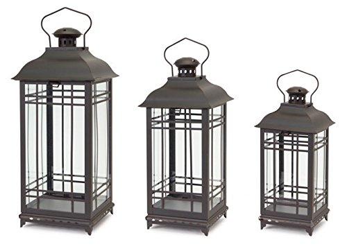 Black Rust Metal and Glass Decorative Lanterns (set of 3)