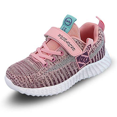 Youecci Kinder Schuhe Turnschuhe Mädchen Hallenschuhe Jungen Sportschuhe Klettverschluss Sneaker Laufschuhe Rosa 28