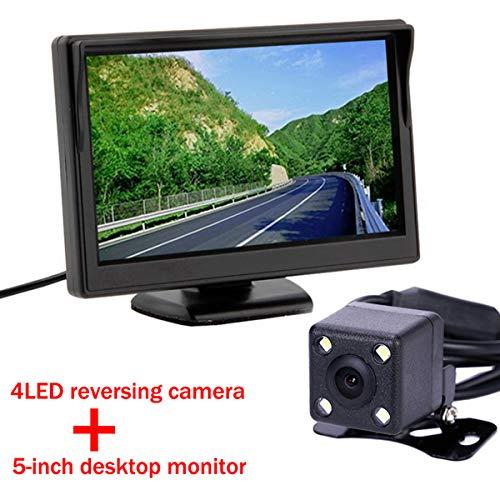 Mini LED Voiture CCD Vue arrière Caméra Vidéo Système de Capteur de Stationnement avec 5 pouces Couleur TFT LCD Vue Arrière de Voiture Moniteur Rétroviseur Parking Écran Pour DVD VCD Caméra Inverse