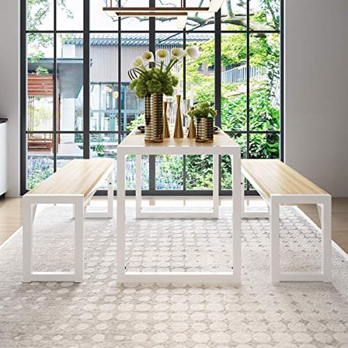 """Decok 3 Pieces Dining Table Set for 4-6 People,48 Inch Kitchen Table with Two 47"""" Benches,Particle Board Top and Metal Frame,Perfect for Breakfast Nook, Living Room,Industrial, Maple and White"""