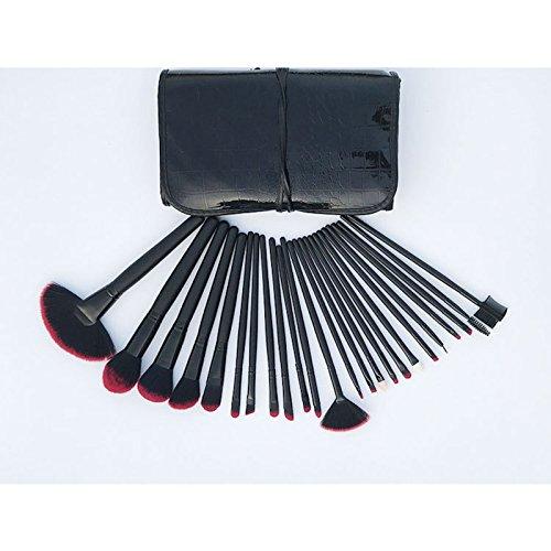 Elonglin Pinceaux de Maquillage Cosmétiques Professional Essential 24 Pcs Kits de Brosse de Maquillage avec Etui Noir Sac en Crocodile