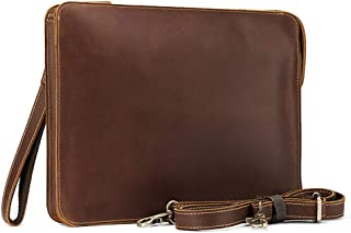 Unisex University Underarm Portfolio with Handle Zip Closure Professional Slim Organizer Genuine Cowhide Leather Compact Portfolio Case with Letter Size (A4) Paper Notepad, Business Carrying Case