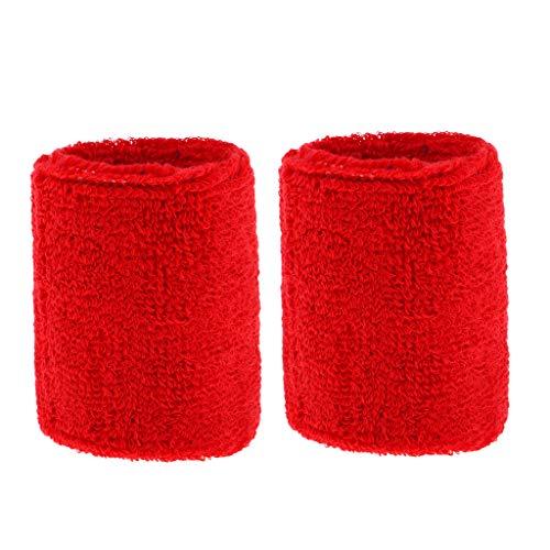 freneci Polsino da 2 Pezzi in Cotone Unisex per Sport Palestra Tennis Corsa Ciclismo - Rosso, 8 x 7 cm
