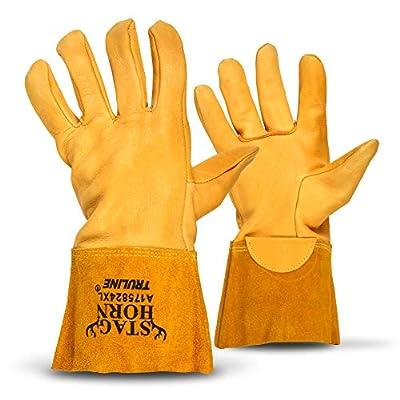 Staghorn Premium Deerskin Leather Work Gloves By Truline   Heat Resistant (Med)