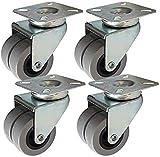 WSWJ 4 Freni PCS Universale rotelle Ruote con snodo 2 Pollici Girevole Ruote in Poliuretano Pu Doppio Industriale Trasporto for Mobili Ruote Uso a Lungo Termine (Color : A)