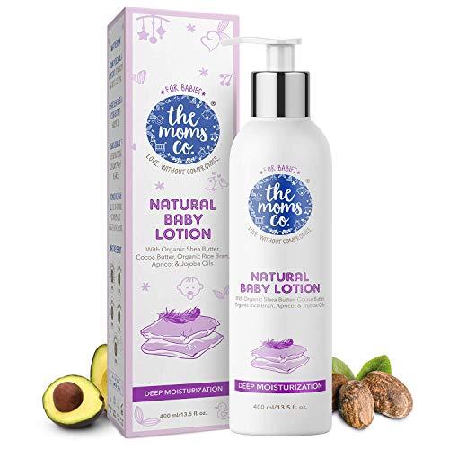 The Moms Co. Natural Baby Lotion, Australia-Certified with Organic Apricot, Organic Jojoba and Organic Rice Bran Oils (400ml)