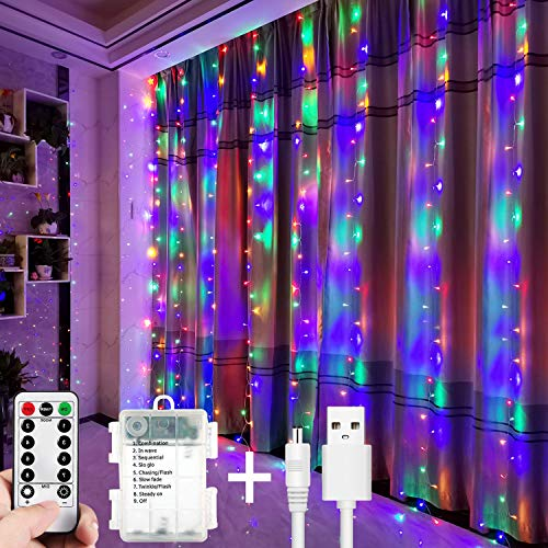 Christmas Lights Led Curtain Fairy Lights 300 LEDs 3M*3M USB Operated Or Battery Powered 8 Modes with Remote &Timer, Waterfall String Lights for Christmas,Wedding,Home Bedroom (Colorful)