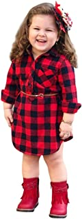 Infant Baby Girls Plaid Print Princess Dresses,Long Sleeve Dress+Belt Outfit,Fashion Style for Kids