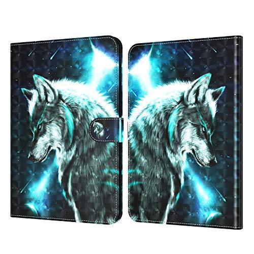 C/N DodoBuy - Funda para tablet Fire HD 8 / Fire HD 8 Plus (lanzamiento 2020), 3D Flip Folio Folio Funda de piel sintética con ranuras para tarjetas, función atril, cierre magnético, diseño de lobo