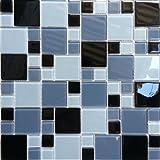 1qm Glas Mosaik Fliesen Matte Steine in Zwei Größen Schwarz und Grau Farbtöne (MT0012 m2)