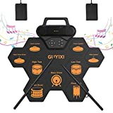 Harilla 電子ドラム ポータブルドラム 9個ドラムパッド 6デモ曲 7ドラム音色 10リズム スピーカー内蔵 ドラムスティック付き 2フットペダル 外部音源入力可能 USB充電式 練習用 初心者/入門/子供 クリスマス 日本語取扱説明書付き