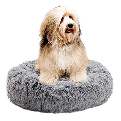 "XZKING Donut Cat Bed-Pet Calming Bed,Deep Sleeping Luxury Shag Fuax Fur Donut Cuddler for Puppy Small Dog Bed,Self Warming Indoor Round Pillow Cuddler (24"" 24"", Gray)"