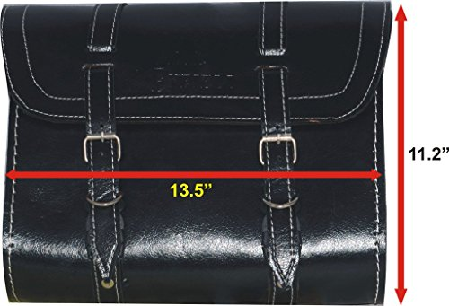RS Vintage Parts RSV-B019E2NEE8-01556 Motorcycle Parts Customized Royal Enfield Black Color Saddle Bag With Fitting Strips