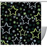 Duschvorhänge mit grün-blauen Sternen für Badezimmer – geruchloser Vorhang für Badezimmer, Duschen & Badewannen, 152,4 x 183,9 cm, 12 Haken im Lieferumfang enthalten