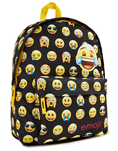 Emoji School Backpack, Fun School Supplies for Girls and Boys, Back to School Essentials, Backpacks for Kids, Rucksack with Smile, Skull and Poo Emoji, Gift for Girl and Boy (Black)