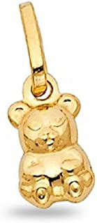 Small Teddy Baby Bear Pendant Solid 14k Yellow Gold Cute Charm Genuine Finish Tiny 11 x 8 mm