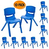 ECR4Kids 12 inch Plastic Stackable Classroom Chairs, Indoor/Outdoor Resin Stack Chairs for Kids, Blue (10-Pack)