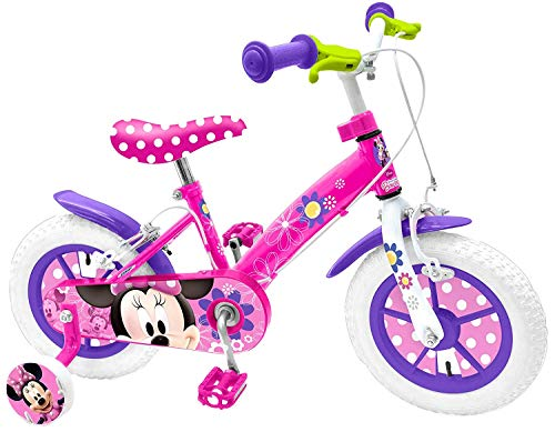 bicicletta bambini minnie Mondo Toys - Bici Mod. MINNIE MOUSE per bambino / bambina - misura 12'' - rotelle e freno anteriore - colore rosa / bianco - 25441