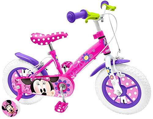 Mondo Toys - Bici Mod. MINNIE MOUSE per bambino / bambina - misura 12'' - rotelle e freno anteriore - colore rosa / bianco - 25441