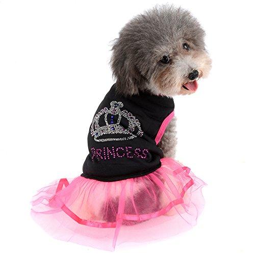 Ranphy Rhinestone Princesa Perro Vestido Encaje Tutu Vestido Falda para Pequeño Perro Gato Niña Ropa