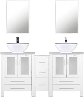 """eclife 60"""" White Bathroom Vanity Sink Combo W/Side Cabinet Modern Stand Pedestal W/Round White Ceramic Vessel Sink, Chrome Bathroom Solid Brass Faucet and Pop Up Drain Combo, W/Mirror (A06 2B02W)"""
