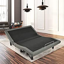 Giantex Adjustable Massage Bed Base Wireless Remote USB Charge Ports Upholstered Zero Gravity Anti-Snore TV Position Memory Function Silent Electric w/ Emergency Backup, Three Leg Height (Queen)