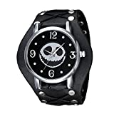 Halloween, Jack Skellington (Skull) Watch w/Studs and Ties on Black Leather,