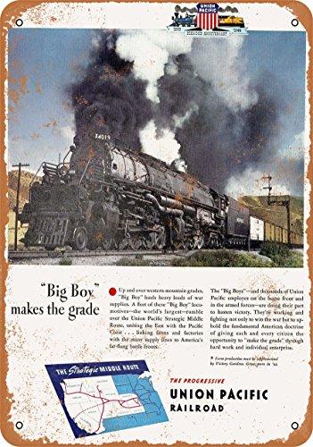 Wall-Color 9 x 12 Metal Sign - 1944 Union Pacific Big Boy Steam Locomotive - Vintage Look -  50882-L