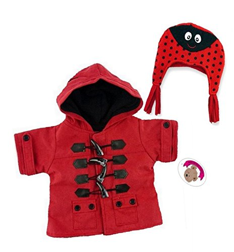 Bear Clothes Red Duffle Coat & Hat Teddy Clothing fit Build a Bear 15-16in Teddies by Build your Bears Wardrobe
