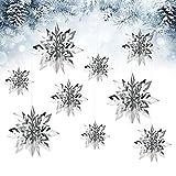 FAVENGO 12 Piezas Colgantes Navideños para Techo Decoracion Navideña Copos de Nieve en 3D Colgantes de Techo Decorativos Copos de Nieve Decorados para Decorar Navidad Cumpleaños Ventanas Techo