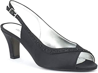 Womens Dainty Satin Embellished Slingback Heels